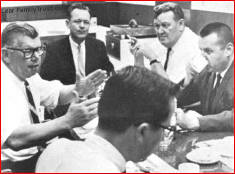 Photo of Bill Lear and Bill Landers (Landers is second from right holding a cigarette) Photo Courtesy of WilliamPLear.com