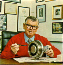 Bill Lear with his Vapor Turbine Engine